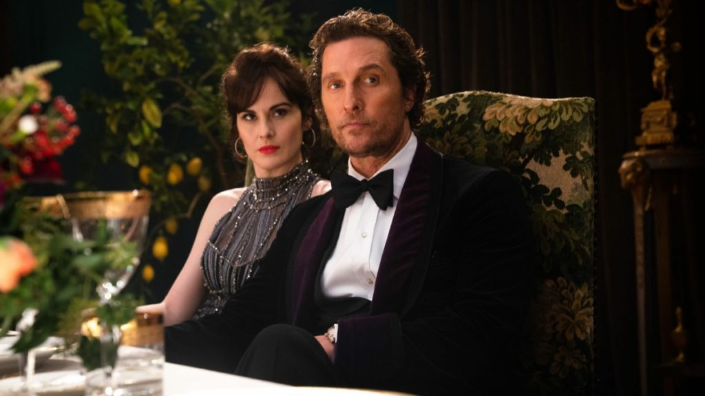 Matthew McConaughey as Mickey and Michelle Dockery as Rosalind in Guy Ritchie's The Gentlemen