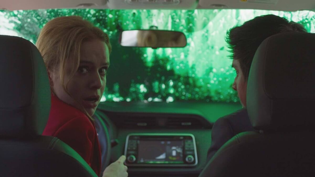 Color is used very well in the film. Marrianne wears a bright red suit, and protesters use a striking green paint as part of their rioting